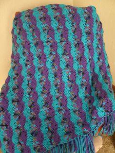 Bright Stripes afghan, free pattern from Red Heart - rows of alternating shells & SC  . . . .   ღTrish W ~ http://www.pinterest.com/trishw/  . . . .     #crochet #blanket #throw