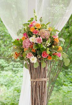 выездная регистрация, рустик, кантри, деревня. цветы, композиция. свадьба. церемоия