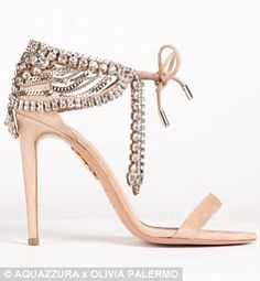 Olivia Palmero's new capsule collection for luxury Italian shoe designer Aquazzura: These jewel-encrusted stilettos, available in black (left) and pale pink (right) were inspired by a vintage Victorian necklace belonging to Ms Palermo.