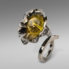 Ring | Gabriel Kabirski.  Sterling silver, topaz, fianite, rhodium plated