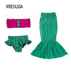 Bright 4pcs Girls Mermaid Tail Swimwear Cosplay With Garlands Bikinis Set Kids Mermaid Tails Swimsuit Beach Swimming Costumes Clothes Elegant And Graceful Mother & Kids