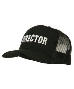 f6a106dd35832 Director Embroidered Mesh Back Cap Black CR11PN6H10F