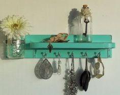 Hummingbird Blue Distressed Wood Jewelry Hanger....Key Hooks....Organizer......Mason Jar Shelf..