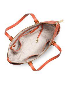 MICHAEL MICHAEL KORS Jet Set Top-Zip Saffiano Tote Bag. #michaelmichaelkors #bags #leather #hand bags #tote #lining #
