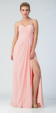 12fa7dcae12 Starbox USA 6425 Strapless Long Bridesmaid Dress with Slit Blush