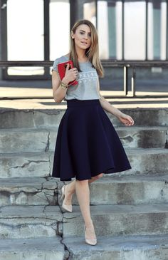 This look is both casual and lady like at the same time. I have a black skirt that's very similar to this and nude pumps of course. That grey T is something I would have to acquire though :)