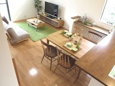 ツートンスタイルがおしゃれなコーディネート事例 Japanese Interior Design, Japanese Home Decor, Living Room Designs, Living Room Decor, Muji Home, Apartment Layout, Small House Design, House Rooms, Cozy House