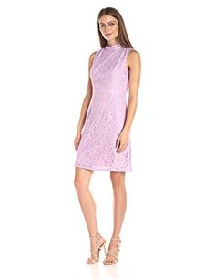 Adrianna Papell Womens aLine Mock Neck Juliet Lace Dress Heather Pink 12 * More info could be found at the image url.