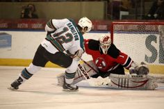 Worcester Sharks forward Freddie Hamilton scores the game-winning-goal in the shootout (March 9, 2014).