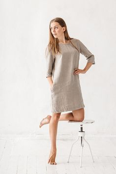 Linen dress, Natural grey linen dress, Linen tunic, Minimal linen tunic, Stone washed, Linen clothes, Loose dress, Organic linen, Eco friendly, High Quality, Women clothes, Linen dress, White linen dress, Minimal linen dress, Linen tunic, Stone washed linen tunic, Casual dress, Dress with pockets, Women dress, Organic linen dress, Linen dress woman, Linen dresses for women, Linen clothing.  DETAILS:  - Dress length about 90 cm / 35.5 - Can be made in different sizes - Made from 100 % Ba...