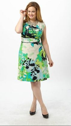 March 9th Launch:Green Floral A-Line Dress by London Times,Available in sizes 14W/16W,18W/20W and 22W