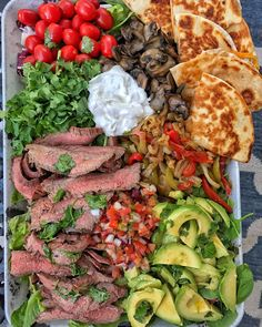 We need this wood-fired spread in our life ⠀ ------------------------------------------⠀⠀⠀ Mexican Salads, Mexican Food Recipes, Ethnic Recipes, Marinated Steak, Steak Marinate, Steak And Mushrooms, Steak Bites, Steak Fajitas, Food Goals