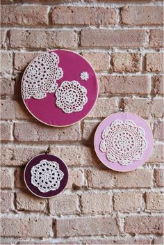 Fabric Hoops: embellished with a doily!