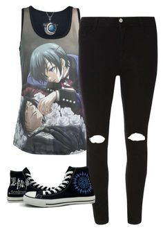 """""""Simple Black Butler Outfit"""" by baby-blue-bubbles ❤ liked on Polyvore featuring мода, Dorothy Perkins, Converse, Sebastian Professional и BubblesFandomOutfits"""