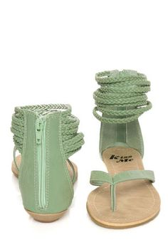 Miss Me Leon 11 Mint Green Braided Ankle Wrap Thong Sandals