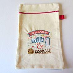 Pochette de rangement brodée milk & cookies, 27 cm x 17,5 cm
