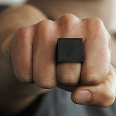 Black Mens Ring Square Signet Rings Oxidized by carpediemjewellery