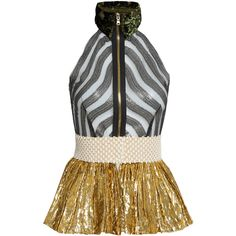 Sophie Theallet Mari sleeveless fil coupé silk-blend tulle top (1 635 AUD) ❤ liked on Polyvore featuring tops, shirts, gold multi, peplum tops, striped peplum shirt, striped shirt, sleeveless tops and embellished shirt