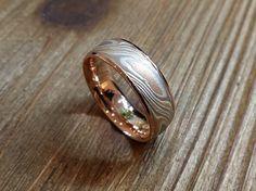 Mokume Gane Rose Gold Combination Ring