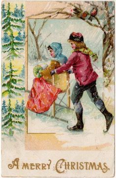Christmas Postcard of a Boy Wearing Ice Skates Pushing a Girl on a Chair Sled
