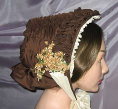 Repro:  brown gathered bonnet.  From Victorian Bonnet.  Man her work is beautiful!