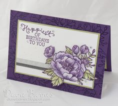 watercolour birthday card using stampin up Birthday Blooms stamp set. By Di Barnes for Just Add Ink chalenge 303. 2016 Occasions Catalogue #colourmehappy