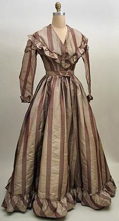 Circa 1865 gown -- taupe and brown fancy figured silk stripe dress with separate… 19th Century Fashion, 1800s Fashion, Victorian Fashion, Vintage Fashion, Edwardian Clothing, Antique Clothing, Historical Clothing, Historical Costume, Vintage Gowns