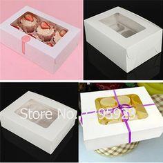 Бесплатная доставка 10 шт. сплошной цвет кекс коробка 6 бумажные формы для кексов коробки с витрины свадебный подарок коробка / ну вечеринку пользу упаковка мешок