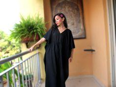 Black maxi dress, sundress. beach cover up, lounge wear, cruise wear, long caftan, cotton kaftan, maternity  wear. $29.99, via Etsy.