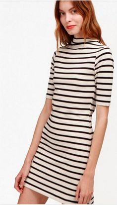 French Connection Terry Stripe High Neck Dress