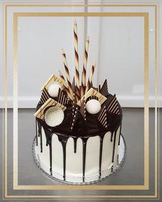 Chocolate Drip Cake - Cake by The Custom Piece of Cake Chocolate Drip Cake, White Chocolate Ganache, Melting Chocolate, White Birthday Cakes, Novelty Birthday Cakes, Drip Cake Recipes, Dessert Recipes, Goodbye Cake, Drip Cake Tutorial