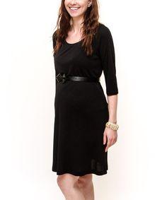 Look at this #zulilyfind! Black Maternity Three-Quarter Sleeve Dress by Debbi O. Maternity #zulilyfinds