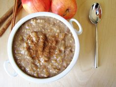 Apple Cinnamon Slow Cooker Oatmeal. Cook overnight and it is ready in morning. Can be refrigerated/frozen into individual servings. Love steel cut oats.