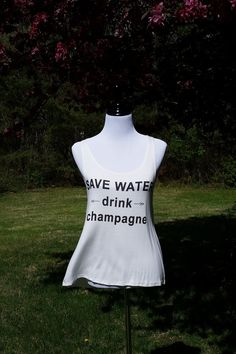 Save Water, Drink Champagne Ivory Tank