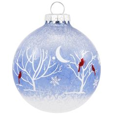Cardinal And Trees On Blue Semi Transparent Glass Ornament
