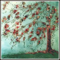 """Watercolor of Weeping Willow Tree, Alcohol Ink Print of Button Tree done on 6""""x 6"""" Ceramic Tile, Ink Print with felt backing by YakiArtist by YakiArtist on Etsy"""
