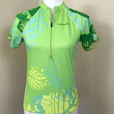 Cannondale NWOT Womens Cycling Jersey Green Hawaiian Leaves Floral Sz Small #Cannondale