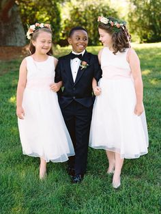 Adorable flower girls and ring bearer: http://www.stylemepretty.com/2016/04/22/now-this-is-how-you-get-married-at-home/ | Photography: Abby Jiu - http://www.abbyjiu.com/