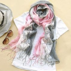 Stylish Fashion Style Maple Leaf Pattern Tassel Decorated Silk Scarf For Women Casual Outfits, Cute Outfits, Fashion Outfits, Womens Fashion, Cheap Fashion, Fashion Ideas, Cute Scarfs, Clothing Sites, Long Scarf
