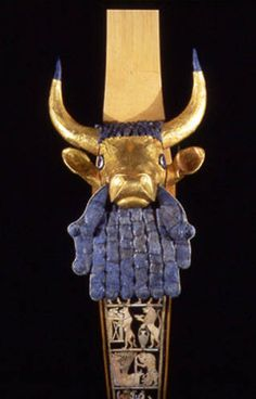 "The Great Lyre from the ""King's Grave"" at Ur ~ ca 2650-2550 B.C. The one in the exhibition from the University of Pennsylvania Museum of Archaeology and Anthropology and its counterpart in the British Museum were discovered in a death pit. Composed of gold, silver, lapis lazuli, shell, bitumen and wood, other artworks indicate that Sumerian lyres were often eleven-string musical instruments played by both men and women."