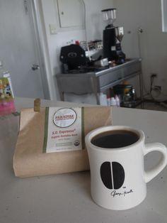 アメリカ・ミネアポリスから届いたばかりの   インドネシア Sumatra Aceh S.O.Espresso 4000feet   良い意味で大地を感じるようなシッカリした印象、 シトラスを思わせるような爽やかな風味も☆