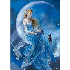 $4.49  - KAYI 5D Diamond Painting Fairy in Blue Partialdrilled Rhinestone Hand Craft Painting Home Decor *** More info could be found at the image url. (This is an affiliate link) #WallStickersMurals