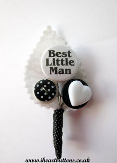 Best Little Man Button Buttonhole / Boutonnière for Pageboy Wedding Black White Polka Dot Heart Rockabilly