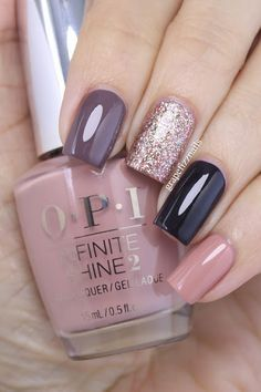 Grape Fizz Nails / OPI Infinite Shine | Nail art: pointer finger - You Don't Know Jacques!; middle finger - Bring on the Bling; ring finger - Lincoln Park after Dark; pinkie - Dulce de Leche.