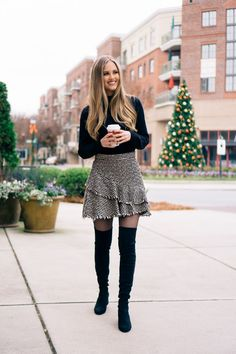 Tweed Skirts and Over-The-Knee Boots | OTK suede boots | winter outfit idea