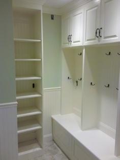 molding strip at bottom of mudroom lockers Garage Lockers, Mudroom Cubbies, Locker Designs, Locker Ideas, Mold In Bathroom, Custom Cabinets, Adjustable Shelving, Entertainment Center, Built Ins