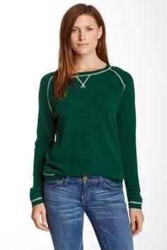 Crew Neck Long Sleeve Cashmere Sweatshirt