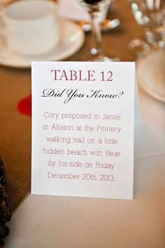 Have romantic facts about the two of you printed on cards, and place one on each reception table.