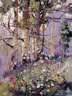'Aspen Springtime' watercolor by David Jackson Watercolor Trees, Watercolor Landscape, Landscape Art, Landscape Paintings, Watercolor Paintings, Watercolors, Aspen Trees, Birch Trees, Tree Art