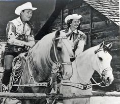 Roy Rogers on Trigger; Dale Evans on Buttermilk